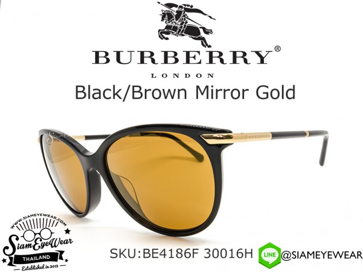 แว่น Burberry BE4186F 30016H Black/Brown Mirror Gold