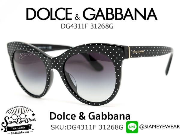 แว่นตากันแดด Dolce & Gabbana DG4311F 31268G White Dot on Black/Grey Gradient