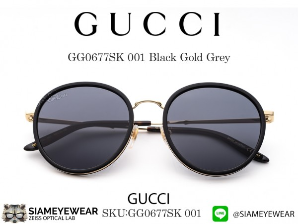 แว่น Gucci GG0677SK Black Gold Grey