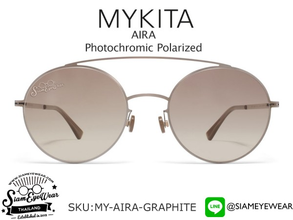 แว่นกันแดด MYKITA AIRA Shiny Graphite/Green Grad Black Photochromic Polarized