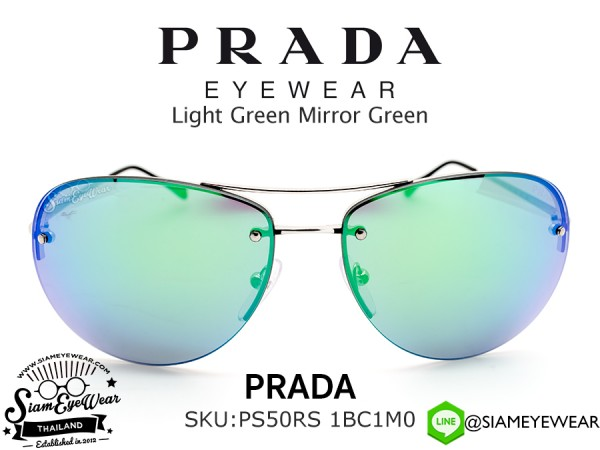 แว่น Prada PS50RS 1BC1M0 Silver/Light Green Mirror Green