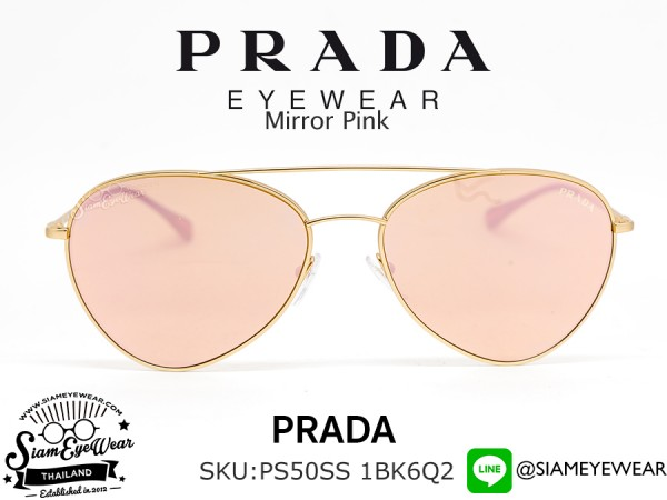 แว่นกันแดด Prada PS50SS 1BK6Q2 Matte Gold/Light Brown Mirror Pink