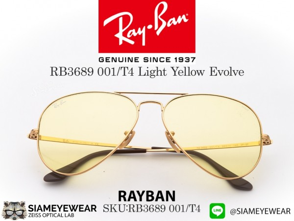 แว่น RayBan Aviator RB3689 Light Yellow Evolve
