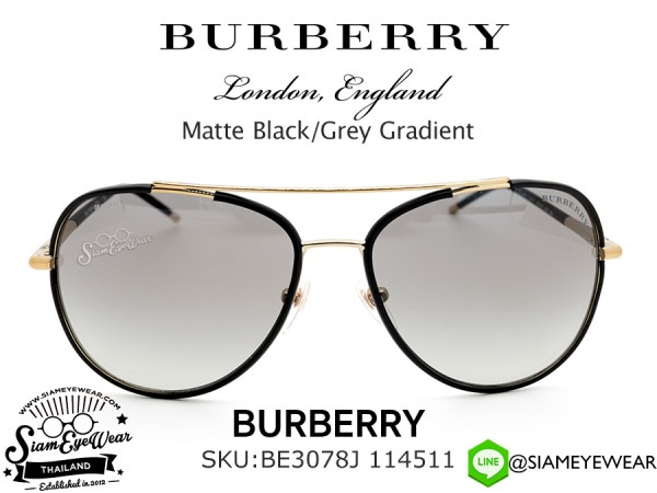 แว่นตากันแดด Burberry BE3078J 114511 Matte Black/Grey Gradient