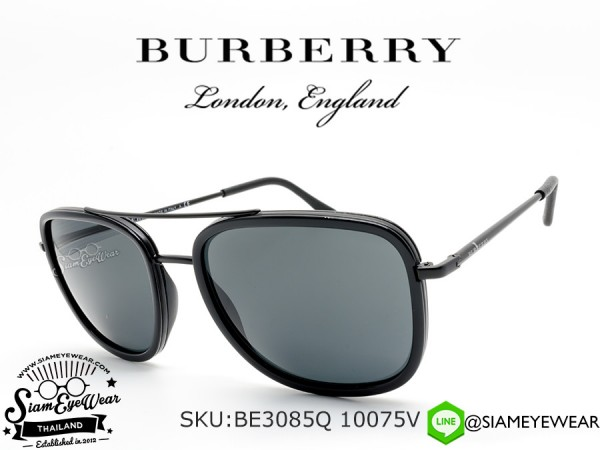 แว่นกันแดด Burberry BE3085Q 10075V Matte Black/Grey