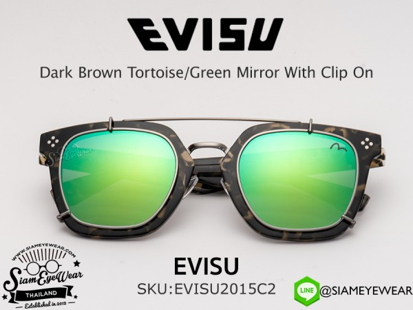 แว่นตา EVISU 2015 C2 Dark Brown Tortoise/Green Mirror With Clip On