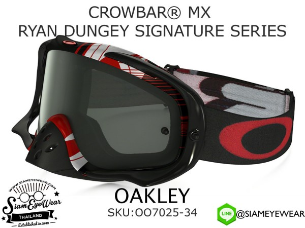 แว่นกันลม Oakley Goggle CROWBAR MX RYAN DUNGEY SIGNATURE SERIES OO7025-34 Black Pass/Dark Gray